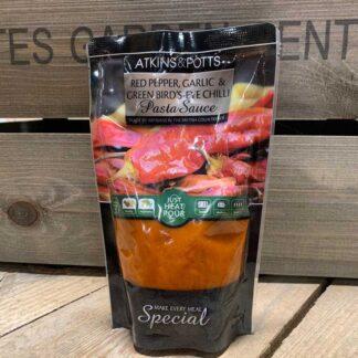 Atkins & Potts Red Pepper,Garlic and Green Birds-Eye Chilli Pasta Sauce 350g