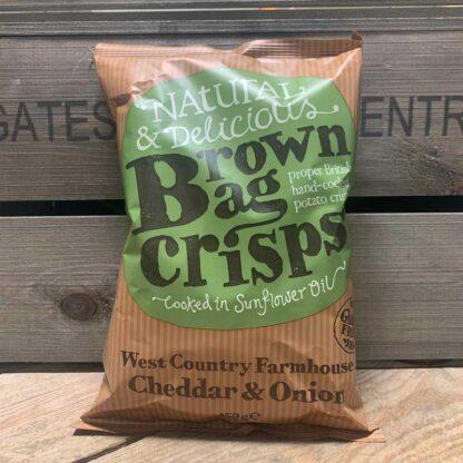 Brown Bag Crisps Gluten Free West Country Farmhouse Cheddar & Onion (150g)