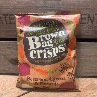 Brown Bag Crisps Gluten Free Beetroot Carrot & Parsnip (120g)