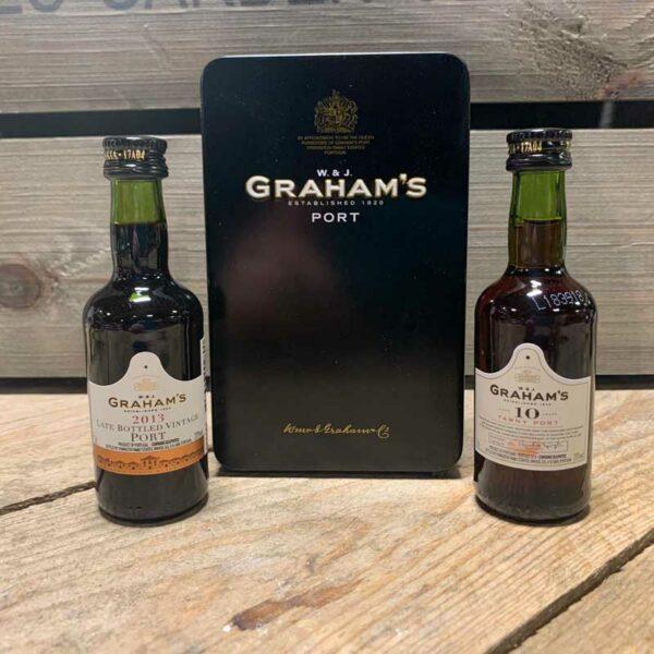 Graham's Miniature Port Tin Lbv & 10Yo Tawny Port 2x5cl