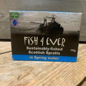 Fish 4 Ever- Scottish Spratts in Spring Water 105g