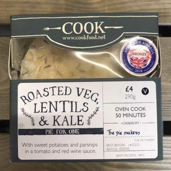 COOK Roasted Veg, Lentils & Kale Pie