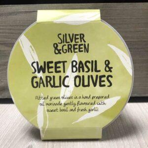 Silver & Green Sweet Basil & Garlic Olives
